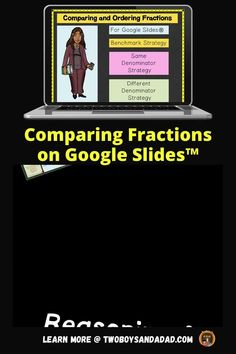 Comparing fractions is part of developing number sense. First, I develop a conceptual understanding of fractions with students using fraction strips. The fraction strips can also be used to design activities to compare denominator sizes. Digitally, this can be recreated on Google Slides with virtual fraction strips. In this digital notebook, students use virtual fraction strips to compare and order fractions with same and different denominators. Discover and learn more! #twoboysandadad Ordering Fractions, Comparing Fractions, Teaching Fractions, Teaching Math, Standards For Mathematical Practice, Mathematical Practices, Mathematics, Math Strategies, Common Core Math