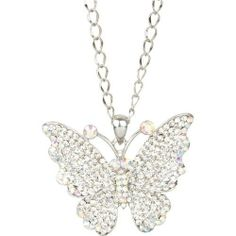 "Heirloom Finds Dazzling Clear and Aurora Borealis Crystal Butterfly Necklace Heirloom Finds. $17.99. Brilliant clear and aurora borealis crystals adorn this statement butterfly necklace. Makes a great gift! Arrives gift boxed!. Wear alone or layer with other necklaces!. Necklace is 27"" long with a 3 1/2"" extender. Butterfly is 2"" in length and just over 2"" wide.. A beautiful emblem of rebirth - this clear crystal butterfly necklace is both stunning and symbolic!. Save 49%! Butterfly Pendant, Butterfly Necklace, Pendant Jewelry, Jewelry Necklaces, Pendant Necklace, Aurora Borealis, Clear Crystal, Great Gifts, How To Make"