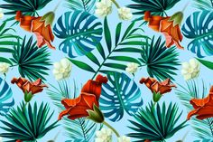 Tropical pattern. Jungle flowers by mystel on Creative Market