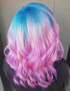 Cotton candy hair color - fairy floss blue hair, pink hair, hair co Girl Hair Colors, Hair Color Pink, Hair Dye Colors, Cool Hair Color, Blue And Pink Hair, Bright Red Hair, Color Del Pelo, Cotton Candy Hair, Fairy Hair