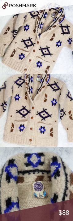 VTG   BIG LEBOWSKI  Cardigan Similar to the Pendleton Cardi worn by The Dude, this Vintage Sak's 5th Avenue Sweater does not disappoint!! 100% wool, Cowichan knit pattern (southwest in appearance) all over, a truly beautiful vintage classic. True to size! Sweaters