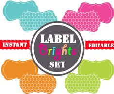 Printable Labels - INSTANT and EDITABLE - Pantry Labels, Bathroom Labels, Office Labels, Organization Tags via Etsy