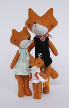 I want my friend Alyson and her soon to be family of three to become foxes for just one day. Lovely plushies by Manomine