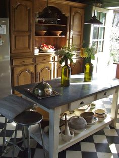 French country kitchen in a home near Giverny, France