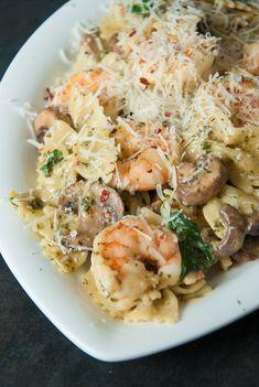 Shrimp and Veggie Pesto Pasta