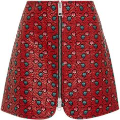 Isabel Marant Heina Printed Mini Skirt (865 605 LBP) ❤ liked on Polyvore featuring skirts, mini skirts, red, mini skirt, red skirt, isabel marant, short skirts and short red skirt