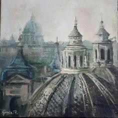 Roma,cupole 40x40 olio su tela