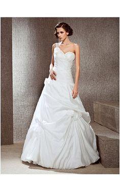 A-line One Shoulder Floor-length Taffeta Wedding Dress