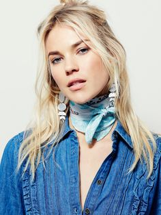 Bandit Printed Bandana | Super soft woven cotton printed banana. Warp about your neck, hair, waist...with so many different ways to wear, this super versatile style looks good with just about anything.