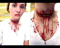Slit throat makeup. Derma wax, stage blood, and Ben Nye creams.