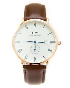 DW Gold Man's Watch With Date in White Dial & Brown Belt - Daniel Wellington