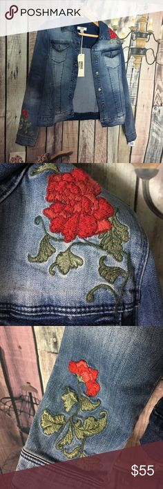 Rose Embroidered Denim Jacket Gorgeous jean jacket. Classic denim with red roses. Perfect for spring AND fall. Vintage America Blues Jackets & Coats Jean Jackets