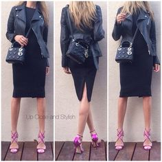Up Close and Stylish @upcloseandstylish Instagram photos | Websta (Webstagram) Last night - #Dior leather jacket and bag, #HM (H&M) dress and #JimmyChoo heels. (16 August 2014)
