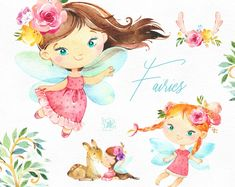 Fairies Watercolor magic clipart little girls dark skins Fairy Clipart, 2 Clipart, Woodland Fairy, Forest Fairy, Cute Illustration, Watercolor Illustration, Bicycle Illustration, Conception Web, Royal Girls