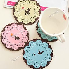 2pcs Animal Style Insulating Coaster Cup Mat Doily Placemat Tablemat for Home Party - Color Assorted HLI-175876