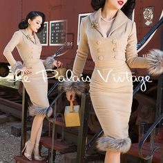 Le Palais Vintage 50s Camel Wool Jacket + Pencil Skirt Suit - Designed by Winny #LePalaisVintage #BlazerSuit