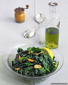 Sauteed Spinach with Garlic by marthastewart #Spinach #Garlic