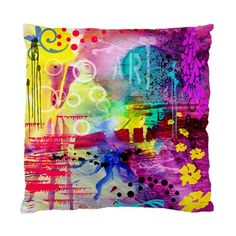 "Multicoloured Crazy Abstract Art No 2 Satin Pillow/Cushion Cover. Make a statement with this original designer cushion in your living room or bedroom. The size is 17"" x 17"" and can easily insert stand"
