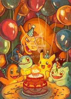 Tarjeta de cumpleaños de Pokémon por AstralTigerArt en Etsy