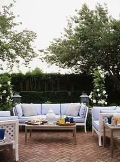 Ashley Whittaker outdoor space with herringbone brick patio Outdoor Retreat, Outdoor Seating, Outdoor Rooms, Outdoor Dining, Outdoor Gardens, Outdoor Furniture Sets, Indoor Outdoor, Outdoor Decor, White Furniture