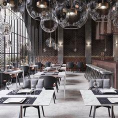 Bar - Restaurant Richter on Behance Classic Restaurant, Deco Restaurant, Luxury Restaurant, Restaurant Concept, Loft Interior, Restaurant Interior Design, Hospitality Design, Cafe Design, Commercial Design