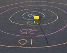 Trampoline game ideas, or sidewalk chalk on the driveway.