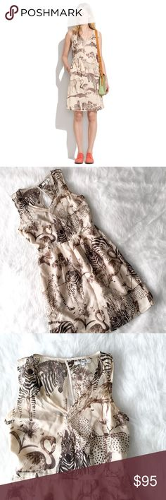 """Madewell Tailored Silk Dress in Safari Sketch Lovely 100% silk dress from Madewell. Cute safari print. Size 4. Excellent condition, no flaws to note. ----------- Tailored in the front with an unexpected flash of back when you turn around (there's a slit that runs from the neckline to the waistline), it's that standout dress every closet needs. Fitted at waist. Straight skirt. Falls 36 1/8"""" from shoulder. Silk. Dry clean. Madewell Dresses"""
