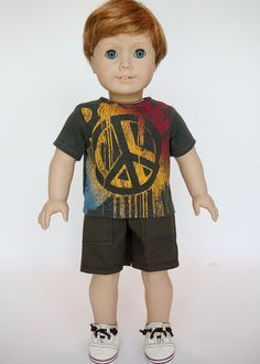 American Boy doll upcycled peace sign t shirt - grey on Etsy, $10.00