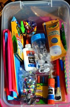 Put together an art box by filling a tub with art supplies found at the dollar store.