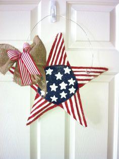Star Burlap Door Hanger by 2CreativeGirls on Etsy, $25.00