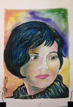 Portrait of Juliette Binoche. Watercolour on Gvarro. 11 in X 15 in. Rivera Fernández 2016