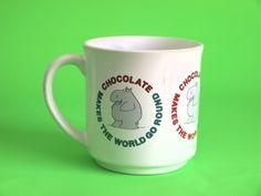 Vintage Retro Sandra Boynton Chocolate Makes The World Go Round Mug - Collectible Elephant Mug - Recycled Paper Products by FunkyKoala on Etsy