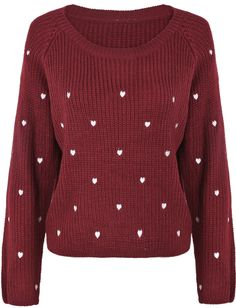 Wine Red Long Sleeve Hearts Embroidered Sweater - Sheinside.com