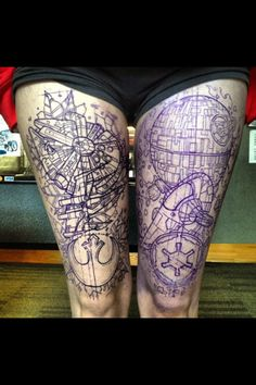 Star Wars tattoo leg spaceship universe space blueprint