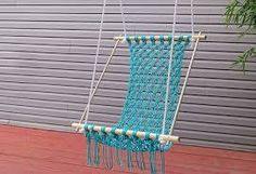Who doesn't love hammock? Hammock is the perfect place to relax. Make your own hammock with these easy DIY projects below. Macrame Hammock YOU WILL N Crochet Hammock, Diy Hammock, Hammock Chair, Diy Chair, Hammocks, Chair Swing, Hammock Ideas, Hammock Swing, Diy Crochet