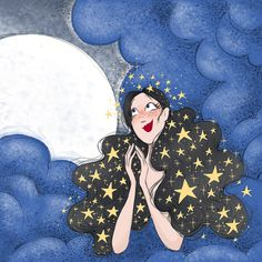 night dream - illustration by Diane Dufour (aka Tagadiane) Dream Illustration, Wing Chun, Freelance Illustrator, Disney Characters, Fictional Characters, Snow White, Wings, Illustrations, Disney Princess