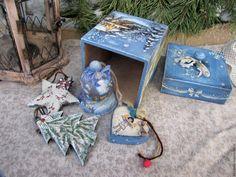 """Купить Набор елочных украшений """"Ночь накануне Рождества"""" - синий, Новый Год, новогодний подарок"""