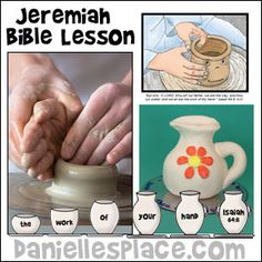 Jeremiah Bible Lesson with Crafts and Games for children from www.daniellesplace.com Bible Story Crafts, Bible Stories For Kids, Bible Crafts For Kids, Preschool Bible, Bible Lessons For Kids, Bible Activities, Kids Bible, Church Activities, Sunday School Lessons