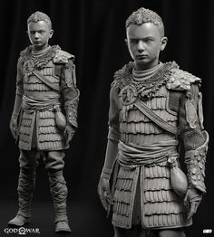 Armor - Zbrush High Poly - Igor Catto Atreus Portrait - Raf Grassetti Concept - Jose Cabrers and Yefim Kligerman Medieval Armor, Medieval Fantasy, Character Sketches, Character Design, 3d Character, World Serpent, Princesa Tiana, Kratos God Of War, Samurai Tattoo