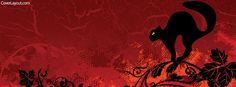 Halloween Black Cat Facebook Cover coverlayout.com