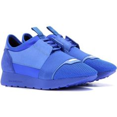 Balenciaga Race Runner Leather and Fabric Sneakers ($655) ❤ liked on Polyvore featuring shoes, sneakers, blue, leather footwear, leather trainers, blue leather shoes, real leather shoes and balenciaga shoes