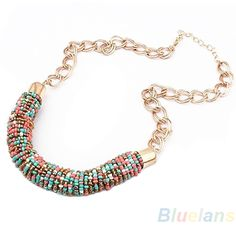 2013 Fashion Handmade Bohemia Style Bead Beaded Chunky Chain Bib Collar Necklace Wholesale Sale 06PK-in Chain Necklaces from Jewelry on Aliexpress.com | Alibaba Group