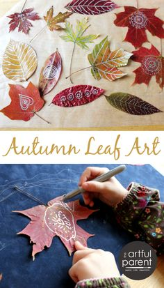 Leaf Art :: Leaf Drawing and Doodling (plus a great way to preserve the leaves and make the color vibrant again!)