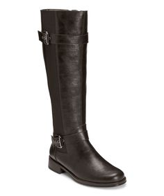 Black Ride Out Stretch-Panel Wide-Calf Boot