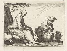 Boëtius Adamsz. Bolswert   Vrouw en man met mand met eieren, Boëtius Adamsz. Bolswert, Anonymous, Claes Jansz. Visscher (II), 1620 - 1670  