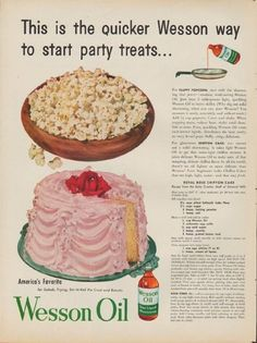 """Description: 1953 WESSON OIL vintage print advertisement """"start party treats"""" -- This is the quicker Wesson way to start party treats ... America's Favorite for Salads, Frying, Stir-N-Roll Pie Crust and Biscuits -- Size: The dimensions of the full-page advertisement are approximately 10.5 inches x 14 inches (27 cm x 36 cm). Condition: This original vintage full-page advertisement is in Very Good Condition unless otherwise noted."""