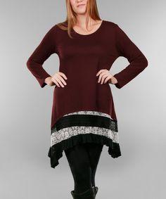 Look what I found on #zulily! Burgundy & White Stripe Sidetail Tunic - Plus #zulilyfinds