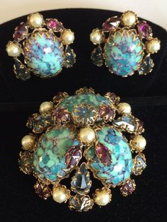 Vintage Schreiner N.Y Brooch & Earrings by TyTimelessSparkles
