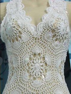 crochelinhasagulhas: Vestido branco de crochê