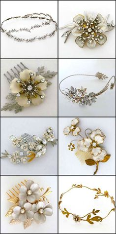 Paris by Debra Moreland bridal hair accessories. <3 for Fall Weddings. Select from bridal hair combs, wreaths, vines and halos.  Defining details for Autumn brides.